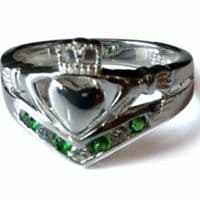 Sterling silver Wishbone Irish Claddagh Ring with Green & White Stones.